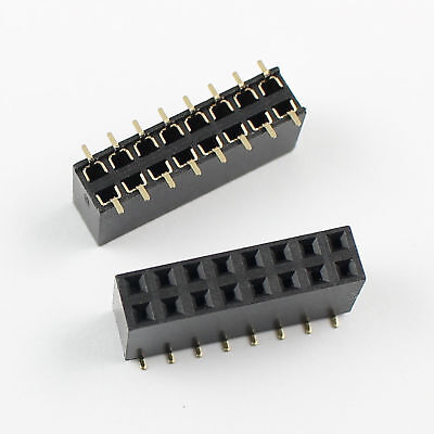 10pcs 2.54mm Pitch 2x8 Pin 16 Pin Female Smt Double Row Pin Header Strip