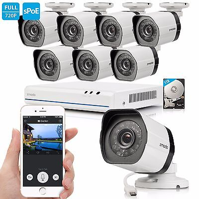 Zmodo 1080p 8CH HDMI PoE NVR 1.0 MP Outddoor IP Home Security Camera System 1TB