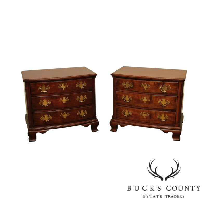 Henredon Salem Coll. Chippendale Style Pair Cherry Bow Front Chest Nightstands