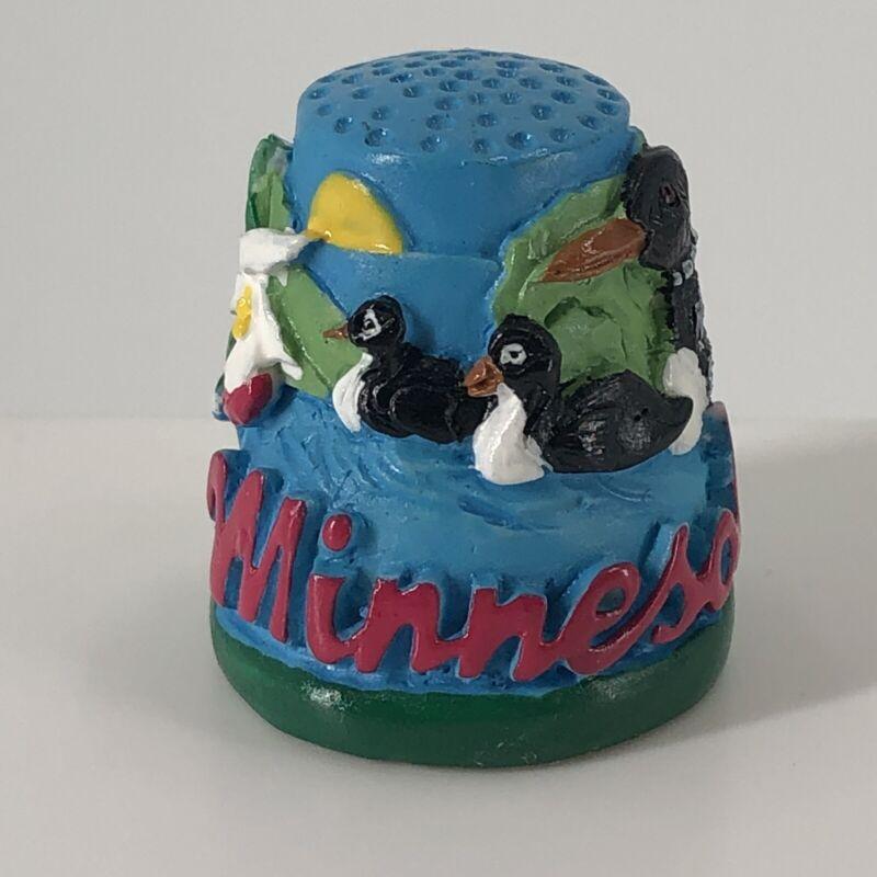 Minnesota Colorful 3D Resin Souvenir State Thimble w/ Mallard Ducks & Flowers