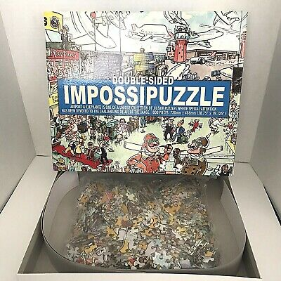 Impossipuzzle Double Sided Airport & Elephants 1000 Piece Jigsaw Puzzle Funtime