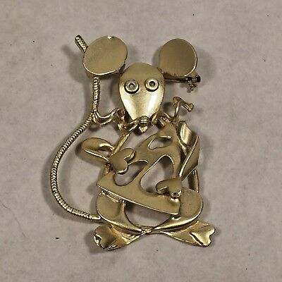 Vtg MCM Gold Tone Mouse w Swiss Cheese Wedge Modernist Metal Brooch Pin ](Cheese Wedge Costume)