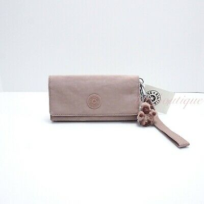 NWT Kipling AC8150 RUBI Snap Long Wallet Wristlet Polyamide Antique Rose Tonal