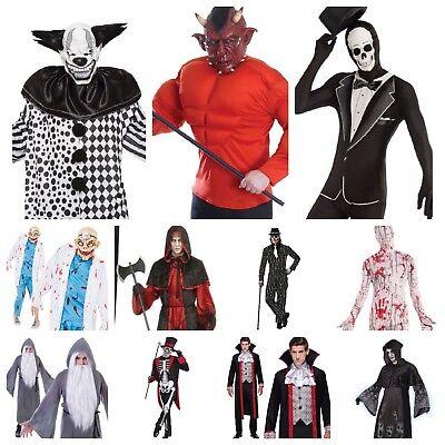 Devil Man Costume (MENS HALLOWEEN CLOWN HARLEQUIN VAMPIRE DEVIL ZOMBIE SKELETON 30+ FANCY)