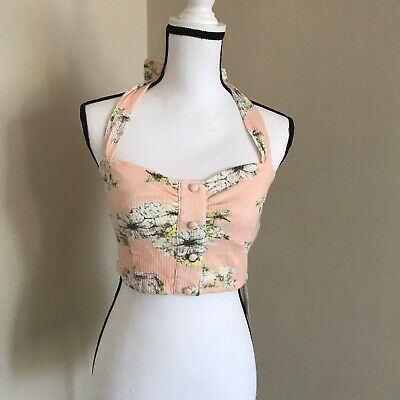 Peach Bustier (NWT Dazzlin Halter Bustier Top Peach White Floral Ties At Neck Size S)
