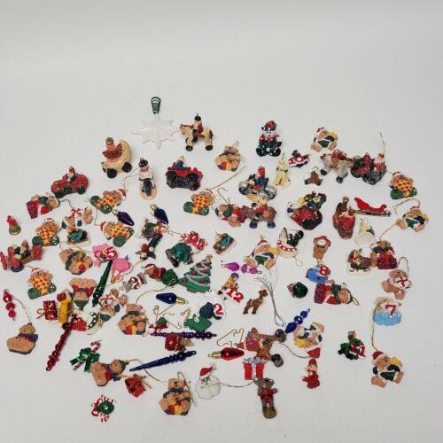 Over 75 Miniature Christmas Ornaments Mixed Lot Resin Plastic Variety Tiny
