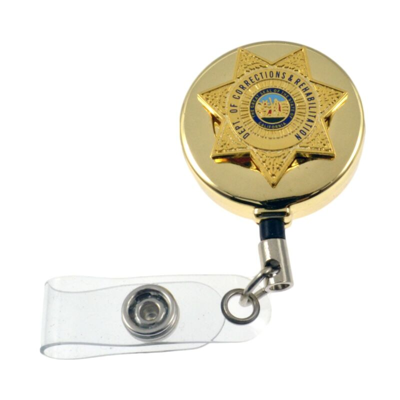 CDCR California Corrections Mini Badge Reel Retractable ID Card Holder Gold