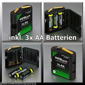 Flachbatterie Batteriebox 4,5 Volt 3 LR6 Wechselgehäuse incl. 3 x  AA Batterie