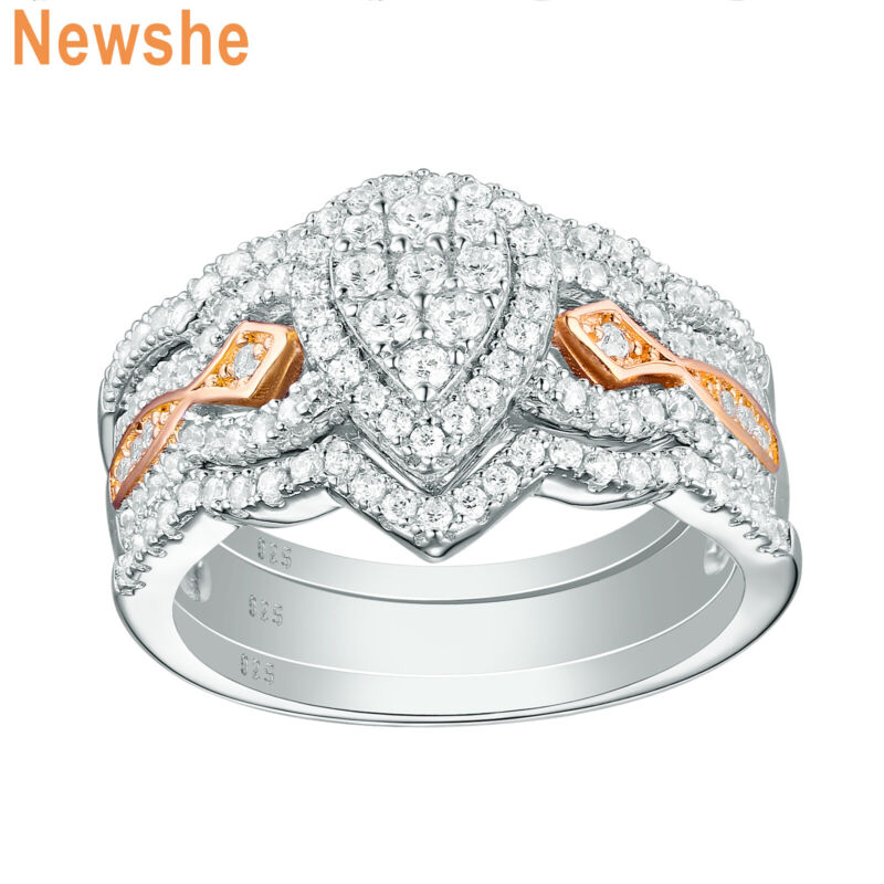 Newshe Engagement Wedding Ring Set Women Rose Gold Aaaa Cz 925 Sterling Silver