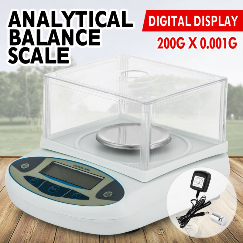 200 x 0.001g 0.1mg Lab Analytical Balance Digital Precision Scale