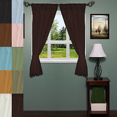Classic Hotel Quality 36″W x 54″L Fabric Bathroom Window Curtain Set w/Tiebacks Curtains & Drapes