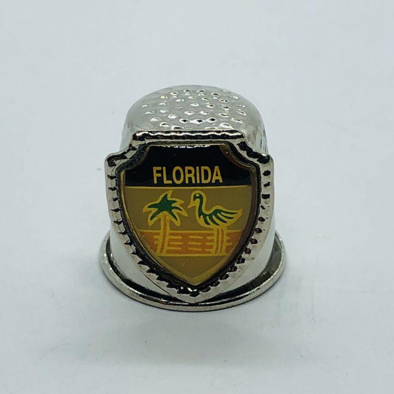 Vtg Florida Souvenir Metal Thimble