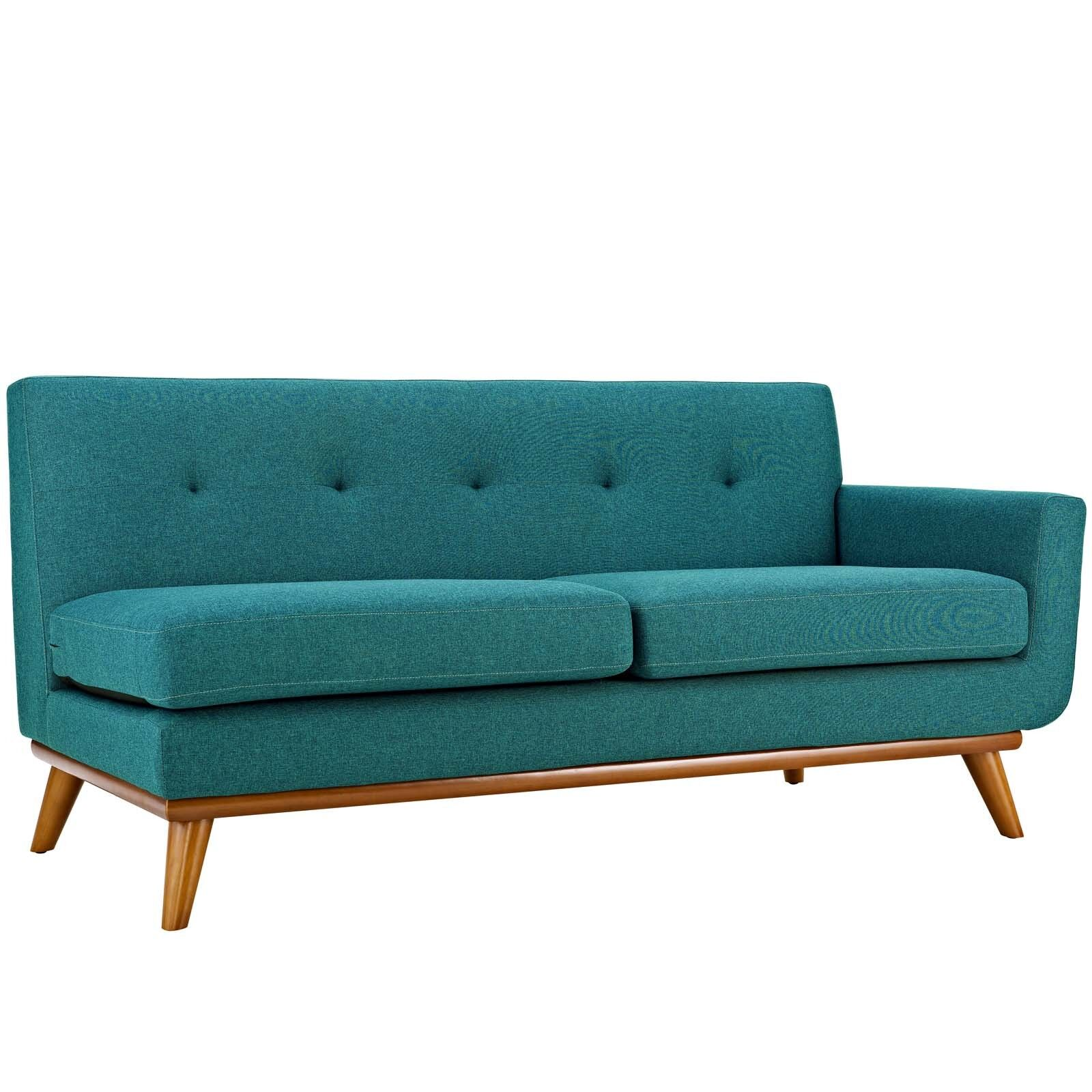 Outstanding Details About Modway Engage Mid Century Modern Upholstered Fabric Left Arm Loveseat In Teal Pabps2019 Chair Design Images Pabps2019Com