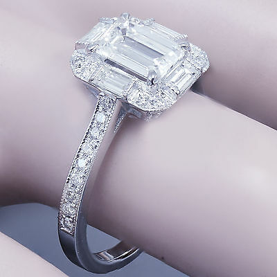 GIA G-VS2 14k White Gold Emerald Cut Diamond Engagement Ring Deco Halo 1.60ctw 7