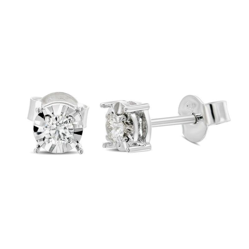 D Vs1 Natural Diamond Solitaire Gold Earrings 14k White Gold Stud 0.20 Carat