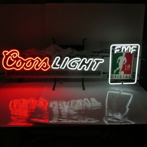 Coors Light Beer FMF Oficial Futbol Soccer Neon Bar Sign 40 Inches Long