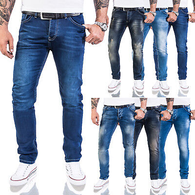Rock Creek Designer Herren Jeans Slim Fit Basic Jeans Stretch Hose Blau M21 Blaue Slim Jeans