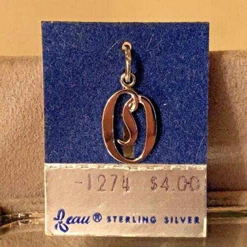 "NEW VTG Sterling Silver Beau Initial ""O"" Charm Pendant 3/4"" On original card"
