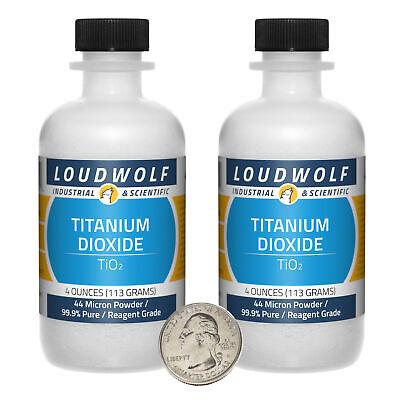 Titanium Dioxide 8 Oz 2 Bottles 99.9 Reagent Grade 44 Micron Powder