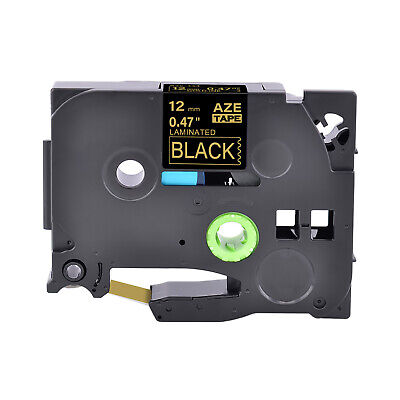 1pk Fits Brother P-touch Pt-d210 38in Tz-334 Tze-334 Gold On Black Label Tape