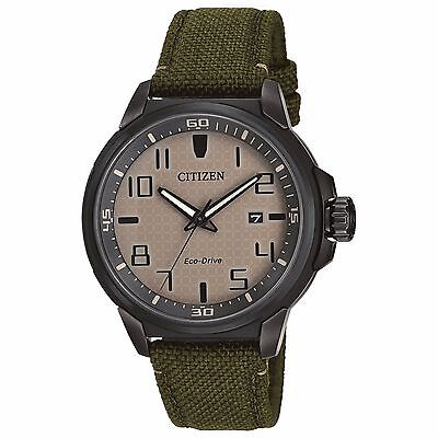Citizen Eco Drive Mens Aw1465 14H Beige Dial Green Nylon Strap 43Mm Watch