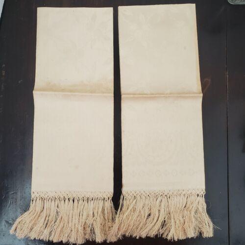 Antique Pair Linen Fruit & Floral Damask Towels Hand Tied Fringe Never Used