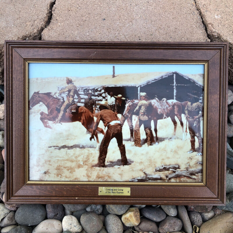 Authentic Frederic Remington Porcelain Coming & Going Of The Pony Express Photo