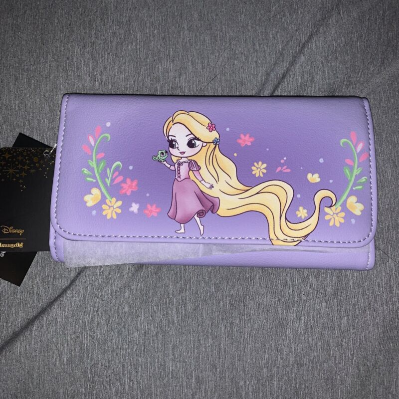 Disney Loungefly Tangled Rapunzel Chibi Lavender Flap Trifold Wallet NEW