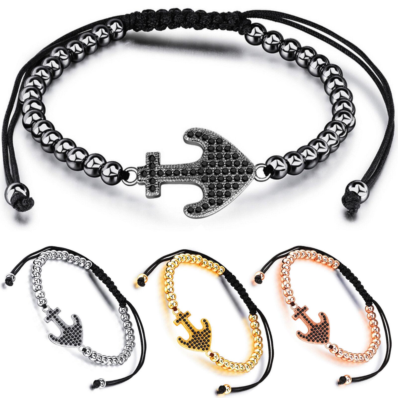 Women's Bracelet, Stainless Steel Beads and Cubic Zirconia Anchor Bracelet Bracelets