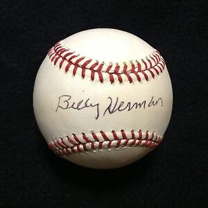 Billy Herman Signed Autographed Rawlings National League Baseball Cubs Auto HOF