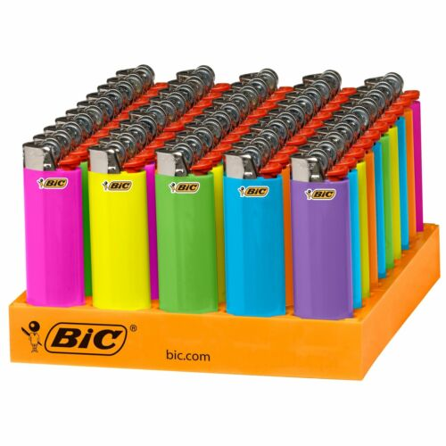BIC Classic Lighters Assorted Fashion Colors, 50-Count Tray. NEW