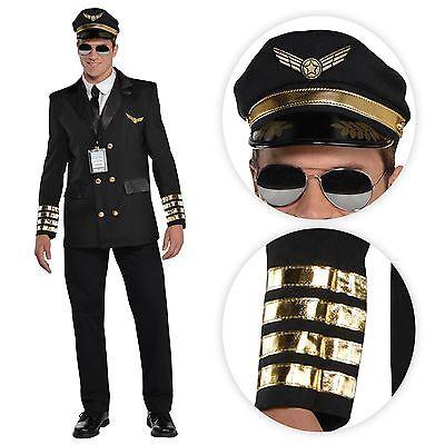 Mens Airline Pilot Fancy Dress Stag Costume Uniform Captain Mile High - Mile High Captain Kostüm