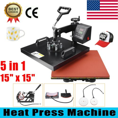 "15""x15"" 5 in 1 Heat Press Machine Digital Transfer Sublimation T-Shirt Mug USA!"