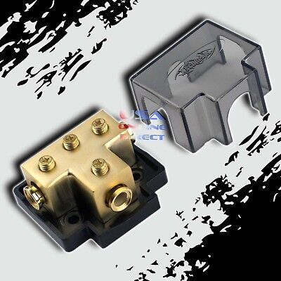 GOLD POWER GROUND DISTRIBUTION BLOCK FOUR 4 or 8 AWG GAUGE IN /OUT MARINE GRADE