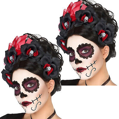 Halloween-kostüme, Schwarze Haare (2 x Haarreif schwarze Rosen Totenkopf Kostüm Zubehör Day of the Dead Halloween)