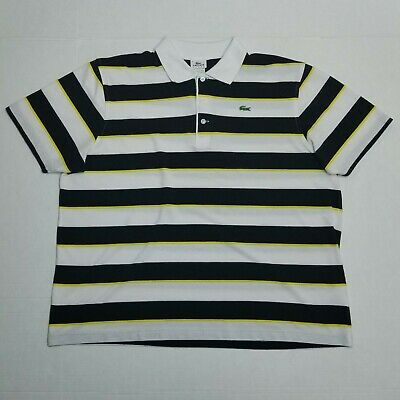 Lacoste Sport Polo shirt - White black yellow striped - Size 8
