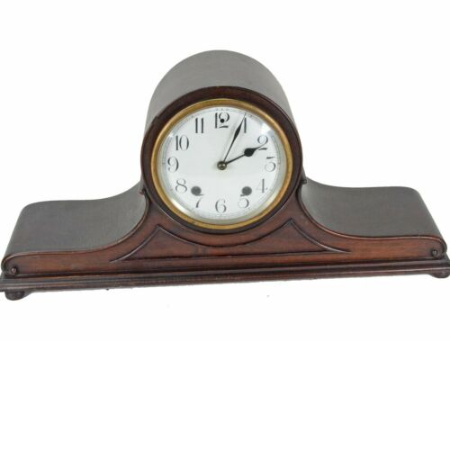 New Haven Tambour Mantle clock porcelain face Serviced and Oiled. WORKS FINE