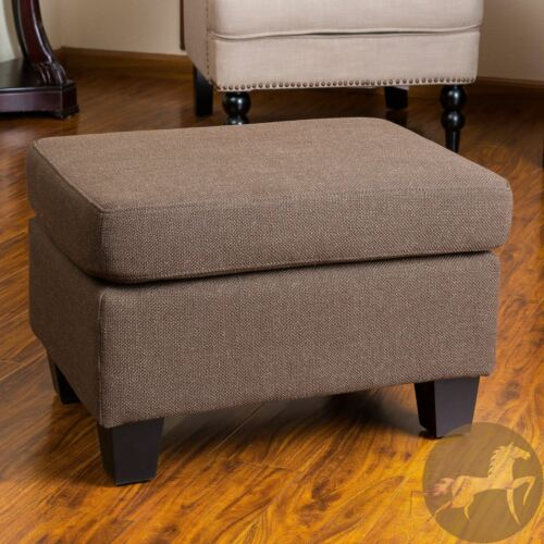 Christabel Brown Fabric Ottoman Footstool Furniture