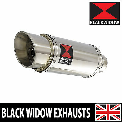 BLACK WIDOW STAINLESS STEEL EXHAUST SILENCER END CAN 200mm ROUND SLIP ON (200SS)