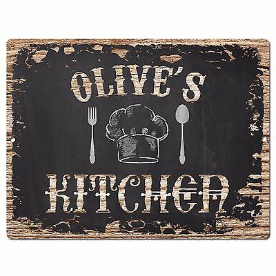 PP2847 OLIVE'S KITCHEN Plate Chic Sign Home Room Kitchen Decor Birthday Gift ()