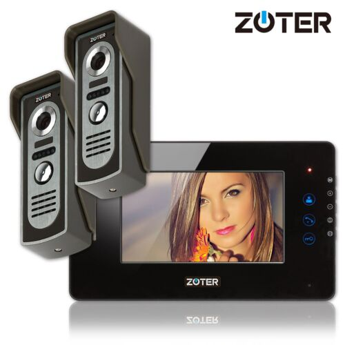 "ZOTER 7"" LCD Touch Key Video Door Phone Home Intercom System Set 2x Metal Camera"