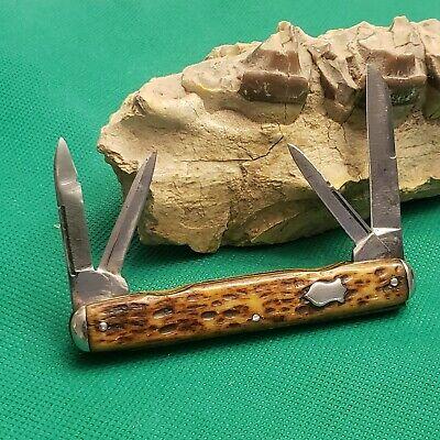 Old Vintage Simmons Keen Kutter Bone Stag Large Congress Pen Pocket Knife Knives