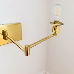 MID CENTURY MODERN VINTAGE BRASS DOUBLE WALL SCONCE LAMP