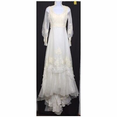 Vintage Floral Lace High Neck Long Sleeve Pearl Train Tiered Wedding Dress Gown
