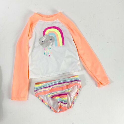 Gymboree swim suit 2 piece rash guard long sleeve top set Sz 4T rainbow pink