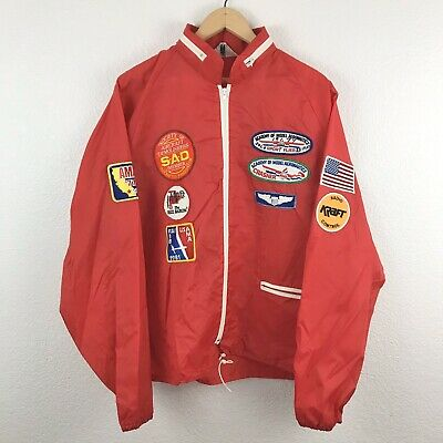 Vintage VTG 70's Full-Zip Windbreaker Drag Racing Jacket Size XL Made in USA Red Full Zip Windbreaker