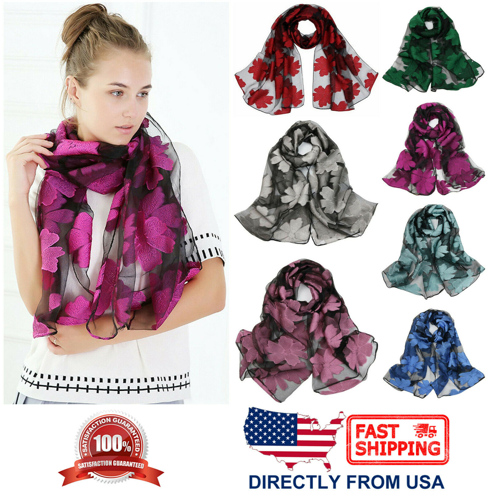 Women's Floral Organza Flower Long Shawl Lightweight Wrap Fashion Scarf Clothing, Shoes & Accessories