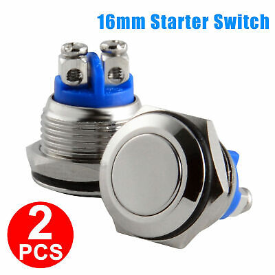 2pcs 16mm Waterproof Starter Switch Horn Momentary Push Button Stainless Steel