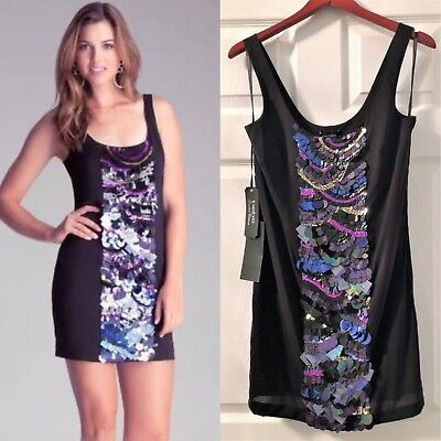 BEBE EMBELLISHED SEQUIN PAILLETTES SHIFT DRESS NWT NEW $169 XSMALL XS 2