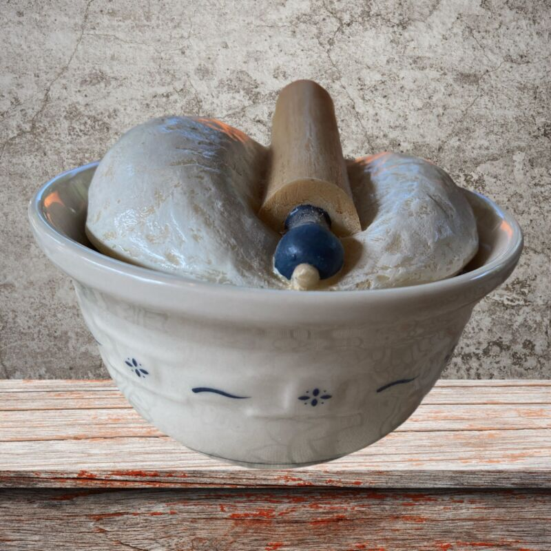 Longaberger CollectorsClub Miniature Dough Bowl Dough Rolling Pin Heritage Green
